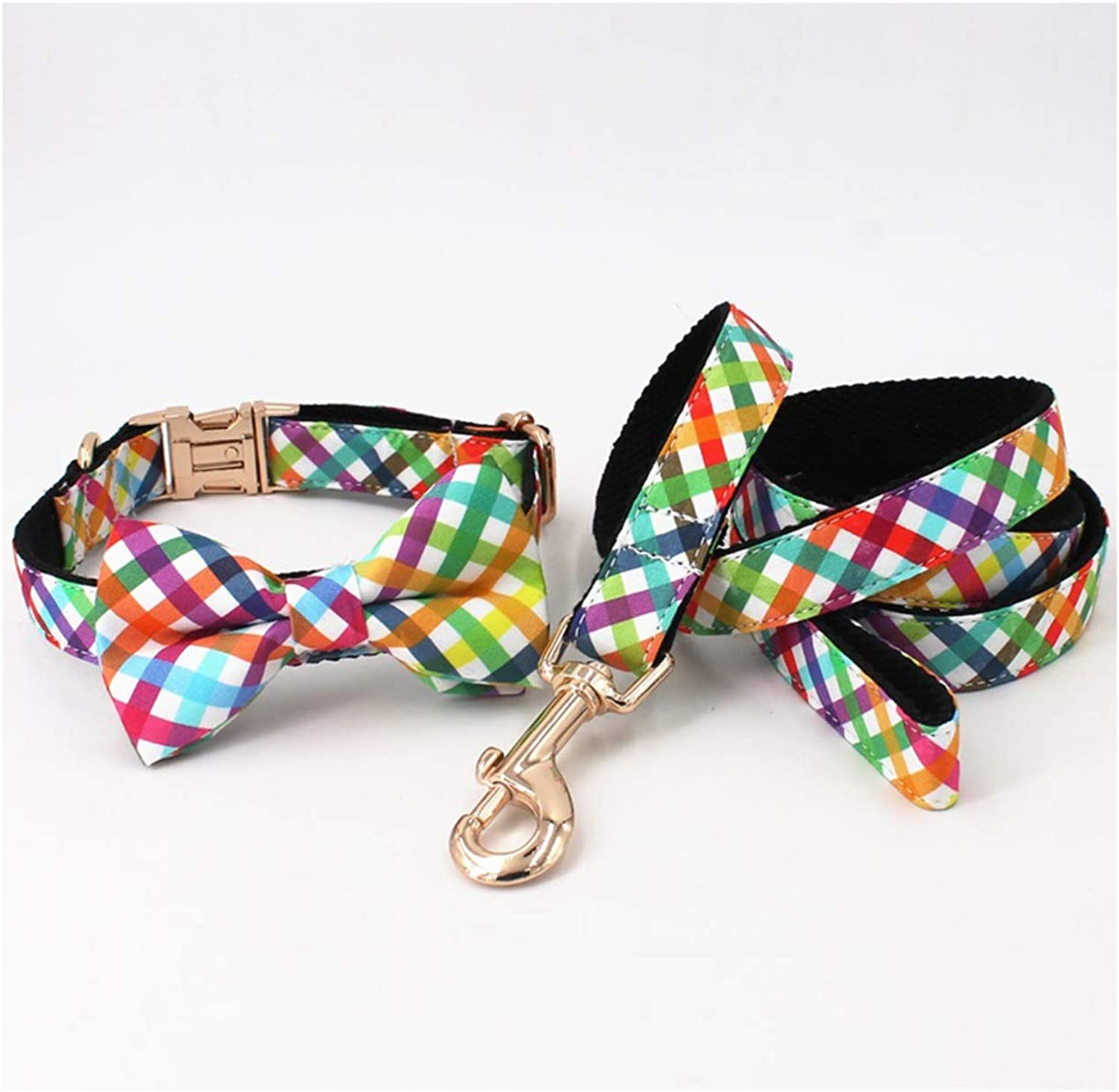 Beatybag Fashion colorful Plaid Dog Collar with Bow Tie,Leash for 5Size to Choose,Best Gifts for Your Pet Full Set XS