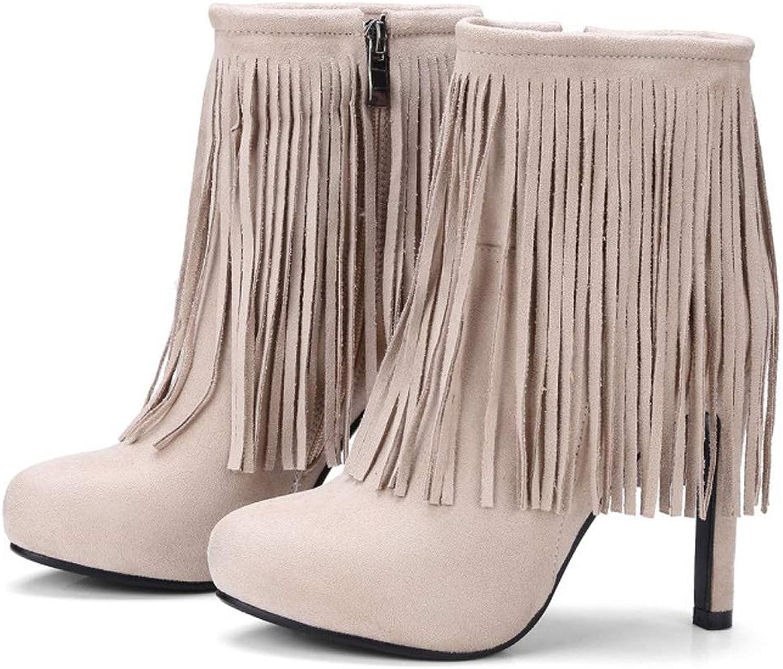 Womens Boots Stiletto Heel Booties Tassel Zipper Martin Boots for 2018 Fall Winter