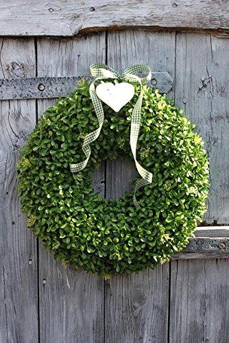 Moorcowry Buchskranz Buxus künstlich Plastikpflanze Ø 30,40 cm Kunstpflanze Buchsbaum Kranz Türkranz Deko Dekoration (Ø 30cm)