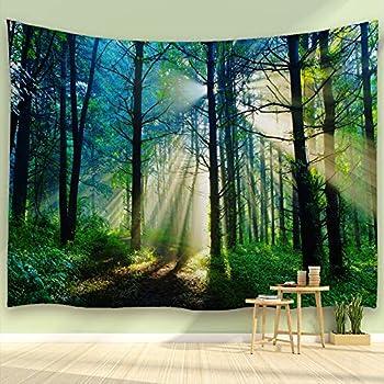 ALFALFA Sunshine Forest Tapestry Morning Green Trees Woodland Grasses Natural Landscape Wall Hanging for Living Room Bedroom Dorm 90  W x 71  L  230cmx180cm  - Misty Sunshine Forest