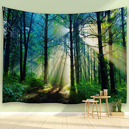 ALFALFA Sunshine Forest Tapestry Morning Green Trees Woodland Grasses Natural Landscape Wall Hanging for Living Room Bedroom Dorm, 90