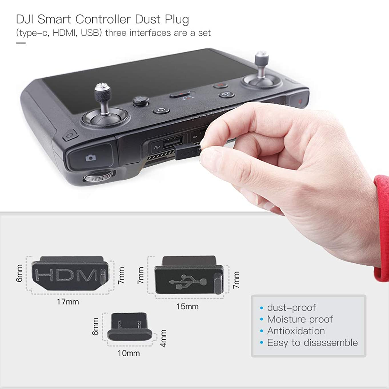 Terminal Water-Resistant Dust Cover Plug Compatible with DJI Mavic 2 Zoom/Pro Enterprise Smart RC Remote Controller Accessory 3pcs