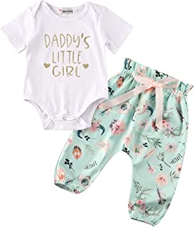 Newborn Baby Girl Clothes Daddy's Little Girl Romper Bodysuit Tops + Floral Pants Outfit Set