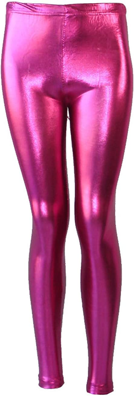 . Shiny Girls Leggings Dance Disco Kids Christmas Color Tight Pants Colour: Hot