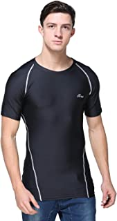 B-TUF Mens Compression T-Shirt Top Dry-Fit Skin Tight Baselayer for Gym Workout Cycling Running Yoga Sports Wear Short Sleeve BT-61