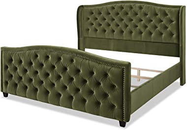 Jennifer Taylor Home Marcella Upholstered Shelter Headboard Bed Set, King, Olive Green Performance Velvet