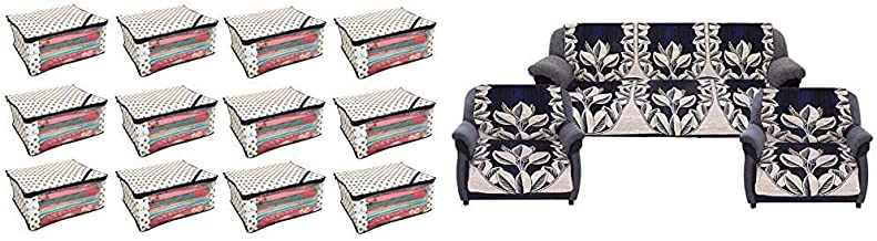 Kuber Industriestm Non Woven Polka Dots Designer Saree Cover Set of 12 Pcs (Ivory) & Flower Design Cotton Reversible 6 Pieces 5 Seater Sofa Cover Set (Blue), CTKTC013580 Combo