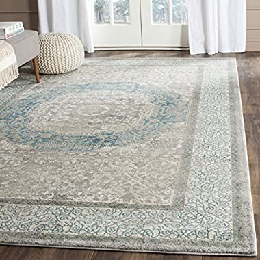 Safavieh Sofia Collection SOF365A Vintage Light Grey and Blue Center Medallion Distressed Area Rug (6'7 x 9'2)