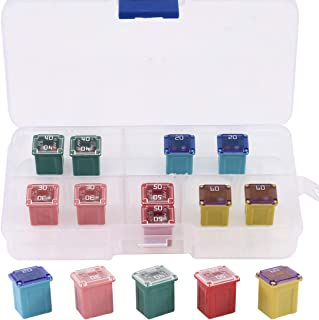 Glarks 10Pcs Automotive Low Profile Box Shaped Mini Jcase Fuse 20A 30A 40A 50A 60A Fuse Assortment Kit for Ford, Chevy/GM, Nissan, and Toyota Pickup Trucks, Cars and SUVs
