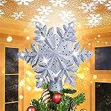 LOFTEK Christmas Tree Topper, Snowflake Christmas Tree Topper Lighted...