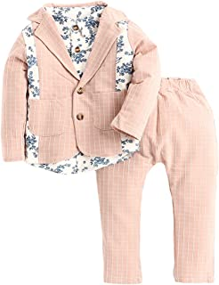 Hopscotch Baby Boys Cotton Pinstripe Half Sleeves Coat with Shirt and Pant Set in Pink Color