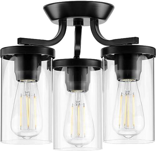 wholesale Lassiter Collection outlet online sale Black Three-Light new arrival Semi-Flush Mount online sale