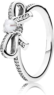 1 Pcs for Women 925 Sterling Silver Rings Bow Love Heart Pearl Star Crystal Finger Ring for Wedding Jewelry Gift 6/7/8/9 Size,8,DR057