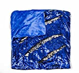 Kovot Sequin Mermaid Style Throw Blanket 50' x 60' - Reversible Color Sequins to Change The Look and Design (Blue/Silver)