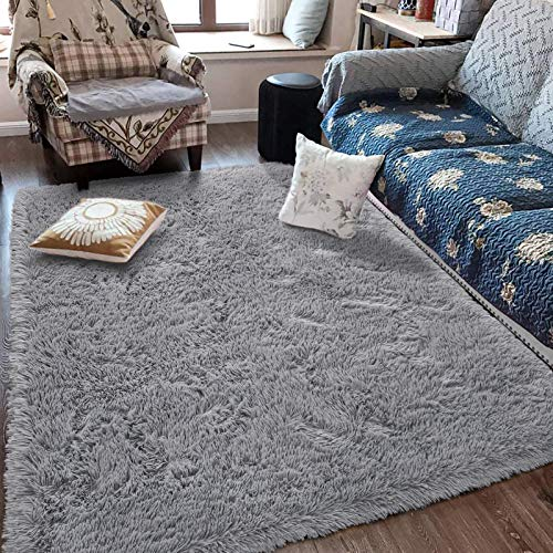 Fluffy Soft Kids Room Rug Baby Nursery Decor, Anti-Skid Large Fuzzy Shag Fur Area Rugs, Modern Indoor Home Living Room Floor Carpet for Children Boys Girls Bedroom Rugs,Grey 4 x 6 Feet