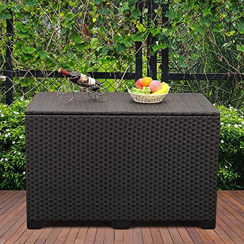 Outdoor Wicker Storage Box, Big Size,Resin Black...
