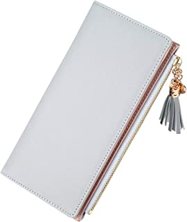 Wiwsi Female Candy Tassel Coin Card Clutch Bag PU Leather Embossed Zipper Wallet