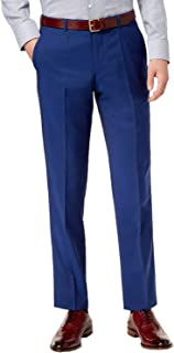 Men's Wool Trousers Modern Fit Bright Blue Solid Flat Front Dress Pants by Hugo