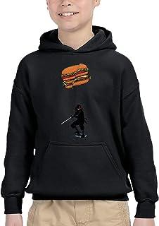 忍者の習慣 ハンバーガー 刀で切る パーカー プルオーバー キッズ 子供服 裏毛 トップス 個性 プリント オシャレ 上着 男の子 女の子