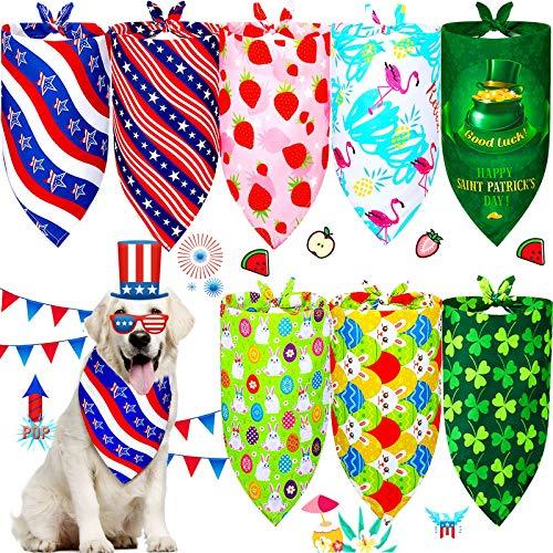 8 Bandanas de Perros de Fiesta Disfraz Babero Triangular de Mascotas de San Patricio Bandana Ajustable de Pascua Pauelo Perro de Da de la Independencia Bufanda Perro de Elemento Festival