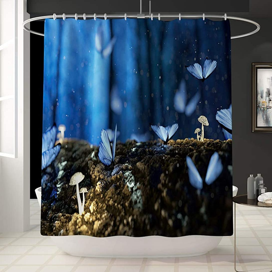 岩近く蘇生する夜景蝶柄シャワーカーテン風呂アカウントバスルームのカーテンは色褪せない汎用性の高い快適な浴槽楽しい防水シャワーカーテン180センチ* 180センチ洗濯機で洗えます フェンコー