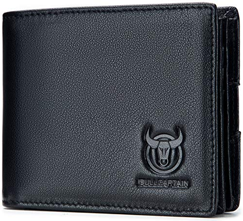 Leather Mens Wallet,RFID Blocking Vintage Bifold Genuine Leather Wallets Multifunctional Card Holder Travel Purse with ID Window for Men (Black)