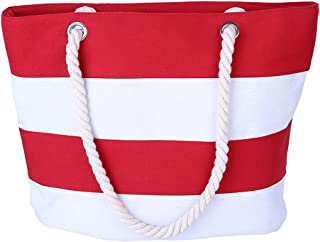 AIYoo Large Beach Bag with Inner Zipper Pocket and Rope Handle Canvas Tote Bag for travelShopping Beach Waterproof Women Shoulder Bag