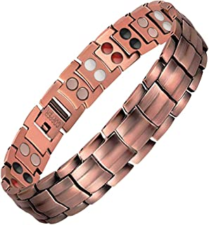JFUME Pure Copper Bracelets for Men 4 in 1 Elements Magnetic Bracelet 8.3 Inches with Link Remove Tool