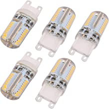 New Lon0167 5Pcs G9 Featured AC220V 64 LEDs reliable efficacy 3014SMD Dimmable LED Silicone Corn Light Bulb Warm White(id:...