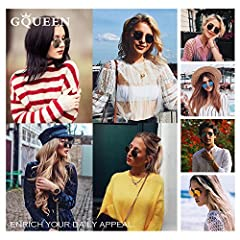 GQUEEN Retro Round Circle Sunglasses Polarised Gold Brown, Vintage Oval Metal Frame Mirrored UV400, MFF7 #1