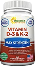 Vitamin D3 with K2 Supplement - 180 Chewable Tablets, Max Strength D-3 Cholecalciferol & K-2 MK7 to Support Healthy Bones,...