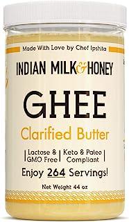 Original Grass-Fed Desi Ghee Clarified Butter by Indian Milk & Honey, 44 Ounce, Bulk Ghee, Keto & Paleo Friendly, Lactose ...