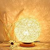 Uonlytech LED Tischleuchte, verstellbare Rattan Kugel LED Tischlampe, LED Schreibtischlampe für Home Party (15cm, Beige)