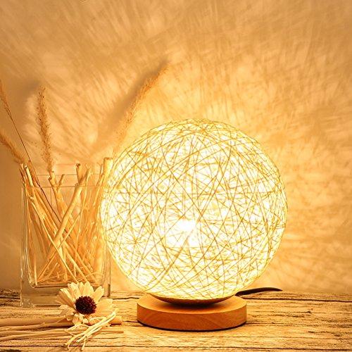 Uonlytech LED Tischleuchte Tischlampe Tischlampe Kugelleuchte Rattan LED Schreibtischlampe Schreibtischlampe für Partys zu Hause (15 cm, beige)