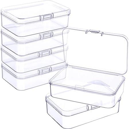 6 Pièces Petites Boîtes de Conteneurs de Stockage de Perles en Plastique Transparent avec Couvercle à Charnière pour Collecte de Petits Objets, Bijoux (3,27 x 2,13 x 1,02 Pouces)