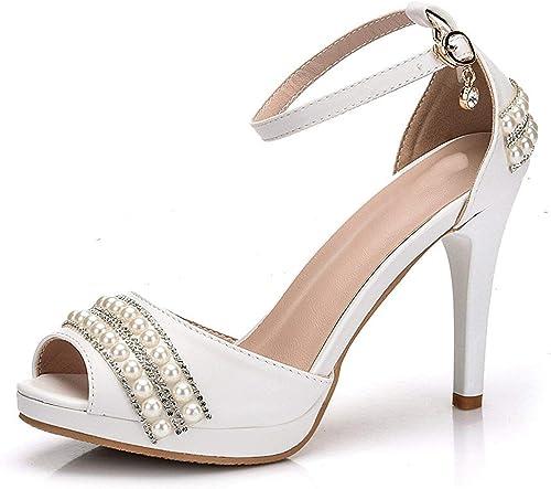 Qiusa Femmes Peep Toe Satin jem chaînes Mariage Nuptiale Sandales (Couleuré   blanc-9cm Heel, Taille   2 UK)