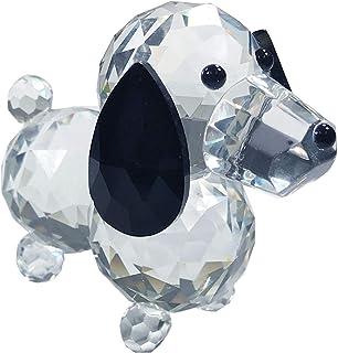Amlong Cristal Estatueta Cristal Cortado Cão Vidro Colecionável, Black Ears