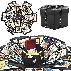WisFox Überraschung Box, Kreative DIY Handgemachte Überraschung Explosion Geschenkbox Liebesgedächtnis, Scrapbooking Fotoalbum Geschenkbox zum Geburtstag Valentinstag Hochzeit Weihnachtsfest(Schwarz)
