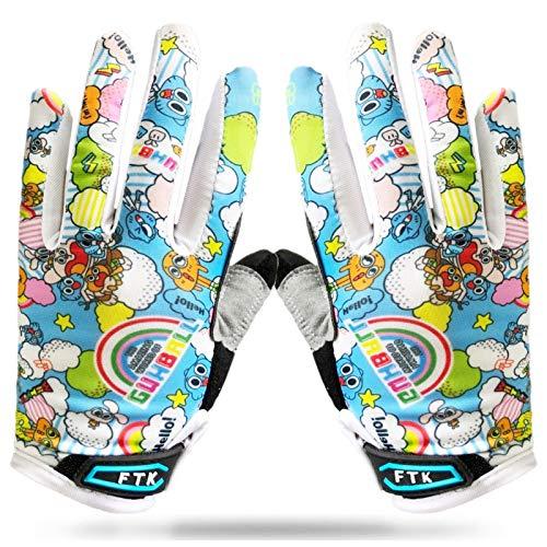 Amrta Fahrradhandschuhe Kinder MTB Jungen Mädchen 2-11 Jahre Roller Skate Sport Handschuhe Gel Rutschfest (Blau, S)