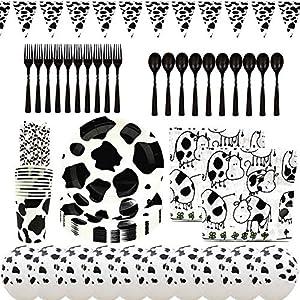 Platos Desechables y Vasos Cumpleaños BETOY 90 piezas Desechable Vajilla Accesorio Incluyendo Banner para Tema de la vaca Decoraciones de Ducha de Cumpleaños para Niños