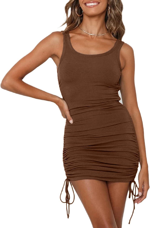 YACUN Women Sleeveless Ruched Bodycon Short Dress Side Drawstring Scoop Neck Casual Club Summer Tank Mini Dresses