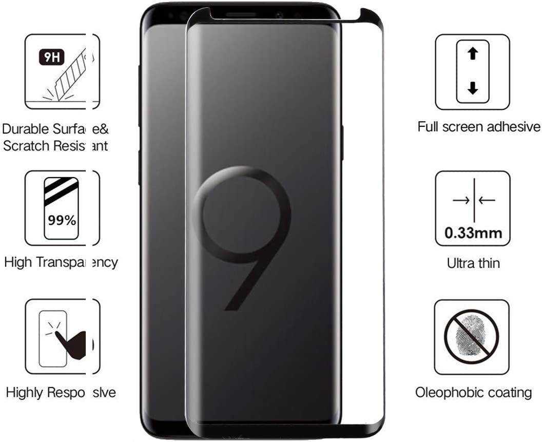 Color : Black Black JIANGNIUS Screen Protector 25 PCS 9H 3D Galaxy S9 Plus 9H 3D Curved Surface Reduction Fully gummed Tempered Glass Film Color: Black