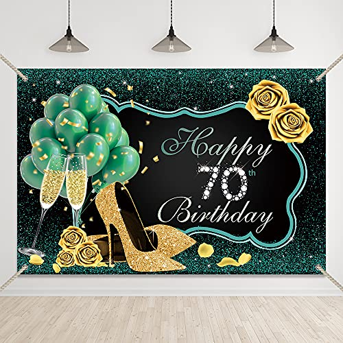Bellimas Happy 70th Birthday Backdrop Green and Black Women Birthday Party Background High Heels Gold Rose Seventy Birthday Prom Party Supplies Banner with Copper Grommets