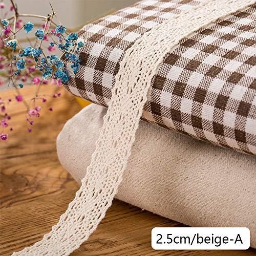 DAHI Spitzenband beige 26 Meter Baumwolle Dekoband -2.5cm Vintage Spitzenborte Häkel-Borte für Basteln Nähen Hochzeit Deko Scrapbooking Geschenkbox (beige-A)