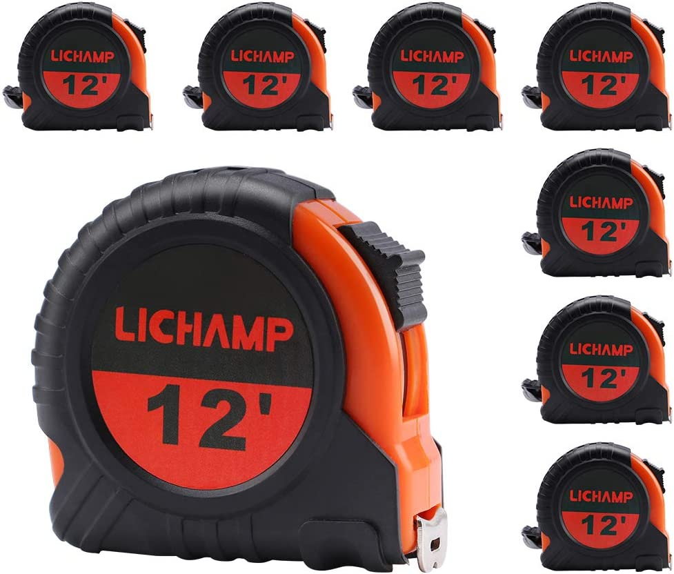 LICHAMP Tape Measure 12 ft, 8 Pack Bulk Easy Read Measuring Tape Retractable with Fractions 1/8, Measurement Tape 12-Foot by 1/2-Inch - -