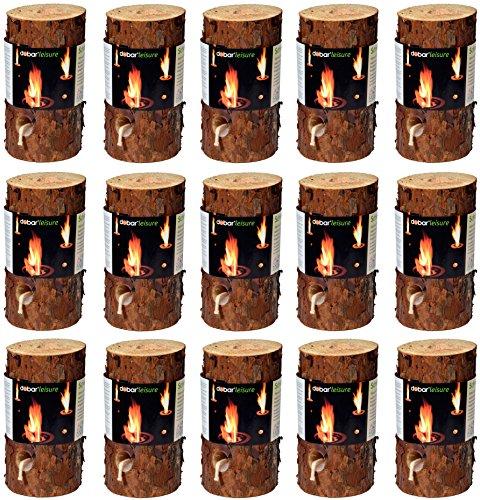dobar 35133 Feuerstellenzubehör Brennstoffe Holz Stimmungsvolles Schwedenfeuer, Baumfackel, 15 Stück, 11-15cm Durchmesser, 20cm hoch, braun