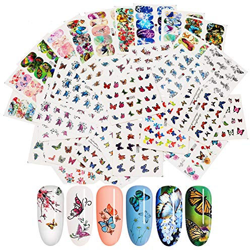 MWOOT 48 Blatt Nail Art Sticker, Nail Art Wassertransfer Aufkleber Home Maniküre Decals mit Schmetterling für Frauen Party Favors DIY Nagelspitzen Decals