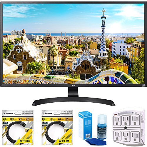 LG 32' 3840x2160 Ultra HD 4k LED Monitor (32UD59-B) with 2x 6ft High Speed HDMI Cable Black, Universal Screen Cleaner & SurgePro 6 NT 750 Joule 6-Outlet Surge Adapter with Night Light