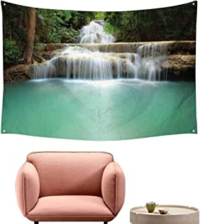 Fashion Tapestry Waterfall Falling Stream Waterfall Natural Pond Thailand Vacation Theme Print Literary Small Fresh 74