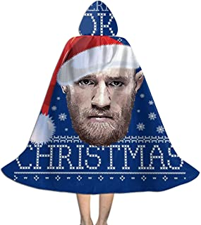Merry Fookin Christmas Conor McGregor Knit Unisex Kids Hooded Cloak Cape Halloween Xmas Party Decoration Role Cosplay Costumes Black